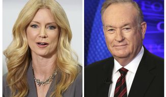 "In this combination photo, former Fox News contributor Wendy Walsh, left, appears at a news conference in the Woodland Hills section of Los Angeles on Monday, April 3, 2017, and Fox News personality Bill O'Reilly appears on the set of his show, ""The O'Reilly Factor"" on Oct. 1, 2015 in New York. Walsh says she lost a segment on ""The O'Reilly Factor"" after she refused to go to O'Reilly's bedroom following a 2013 dinner in Los Angeles. She's seeking an investigation by New York City's Commission on Human Rights. (AP Photo/Anthony McCartney, left, and Richard Drew)"