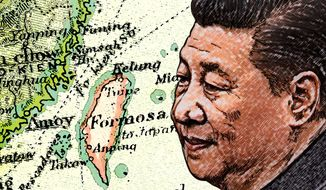 Illustration on China and Taiwan by Greg Groesch/The Washington Times