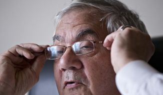 In this photo taken Dec. 12, 2012, Rep. Barney Frank, D-Mass., the nation's most prominent gay politician, speaks about his impending retirement during an interview with The Associated Press on Capitol Hill in Washington. (AP Photo/J. Scott Applewhite)