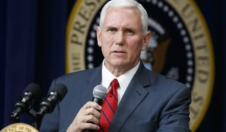 Vice President Mike Pence speaks during a town hall with business leaders in the South Court Auditorium on the White House complex in Washington, Tuesday, April 4, 2017. (AP Photo/Evan Vucci) ** FILE **