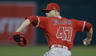 Los Angeles Angels pitcher Ricky Nolasco works against the Oakland Athletics in the first inning of a baseball game, Monday, April 3, 2017, in Oakland, Calif. (AP Photo/Ben Margot)