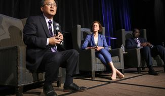 State Treasurer John Chiang, a candidate for California governor, speaks at a gubernatorial candidates forum, Tuesday, April 4, 2017, in Sacramento, Calif. Chiang, along with fellow Democratic gubernatorial candidates, Lt. Gov. Gavin Newsom and former Los Angeles Mayor Antonio Villaraigosa, addressed attendees at a conference held by Crime Survivors For Safety and Justice. In the center is Lenore Anderson, founder and executive director of Crime Survivors For Safety and Justice and at right is Alex Johnson, the managing director.(AP Photo/Rich Pedroncelli).