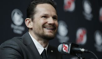 New Jersey Devils' Patrik Elias talks to reporters during a news conference talking about his retirement from NHL hockey, Tuesday, April 4, 2017, in Newark, N.J. The Devils' all-time leading scorer is retiring after a career that spanned almost two decades and included two Stanley Cup titles. The 40-year-old native of the Czech Republic announced his retirement in a statement on Friday, March 31, 2017. (AP Photo/Julio Cortez)