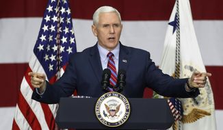 In this Saturday, April 1, 2017, photo, Vice President Mike Pence speaks at DynaLab, Inc. in Reynoldsburg, Ohio. Pence and a few other White House officials made a new offer to conservative House Republicans late Monday on the GOP's failed health care bill, hoping to resuscitate a measure that crashed spectacularly less than two weeks ago. (AP Photo/John Minchillo)