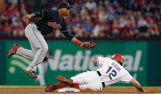 Cleveland Indians second baseman Jose Ramirez, left, forces out Texas Rangers Rougned Odor (12) during the second inning of a baseball game Tuesday, April 4, 2017, in Arlington, Texas. (AP Photo/Brandon Wade)