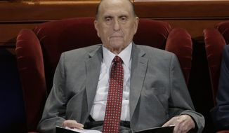 FILE - In this Saturday, April 1, 2017, file photo, The Church of Jesus Christ of Latter-day Saints President Thomas S. Monson looks on during the morning session of the two-day Mormon church conference in Salt Lake City. The 89-year-old president of the Mormon church has been hospitalized in Salt Lake City a spokesman for the church said Tuesday. (AP Photo/Rick Bowmer, File)