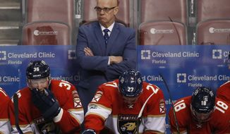 FILE - In this Jan. 31, 2017, file photo, Florida Panthers general manager and interim head coach Tom Rowe looks on during the second period of an NHL hockey game against the Ottawa Senators, in Sunrise, Fla. The Panthers have decided interim coach Tom Rowe's stint will end when their season does Sunday, a person with knowledge of the situation told The Associated Press. Rowe may still stay with the organization, said the person who spoke Tuesday, April 4, 2017,  on condition of anonymity because Florida has not revealed any details publicly. (AP Photo/Wilfredo Lee, File)