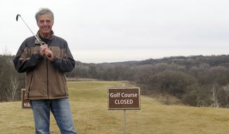 In this March 29, 2017 photo, Randy Krzmarzak, part of the Friends of Fort Ridgely group who has spent countless hours trying to keep the Minnesota Department of Natural Resources from closing the park's golf course poses for a photo in Fairfax, Minn. A yearlong effort by the group to save the golf course at Fort Ridgely State Park from closure has shifted to the Legislature, where at least one lawmaker has concerns. (Brian Bakst/Minnesota Public Radio via AP)