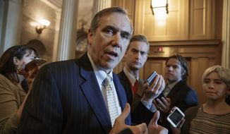 Sen. Jeff Merkley, D-Ore. speaks to reporters just outside the Senate chamber on Capitol Hill in Washington, Wednesday, April 5, 2017, after he ended a 15 hour all-night talk-a-thon as the Senate heads toward a showdown over the confirmation vote for Supreme Court Justice nominee Neil Gorsuch. (AP Photo/J. Scott Applewhite)