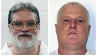 FILE - This combination of file photos provided by the Arkansas Department of Correction shows death-row inmates Bruce Earl Ward, left, and Don William Davis. Both men are scheduled for execution April 17, 2017. (Arkansas Department of Correction via AP, File)
