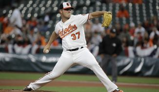 Baltimore Orioles starting pitcher Dylan Bundy throws to the Toronto Blue Jays during the first inning of a baseball game in Baltimore, Wednesday, April 5, 2017. (AP Photo/Patrick Semansky)