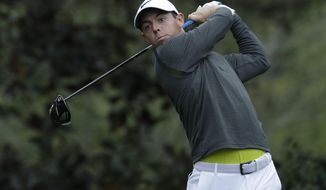 Rory McIlroy of Northern Ireland, hits a drive on the 15th hole during a practice round for the Masters golf tournament Wednesday, April 5, 2017, in Augusta, Ga. (AP Photo/Matt Slocum)
