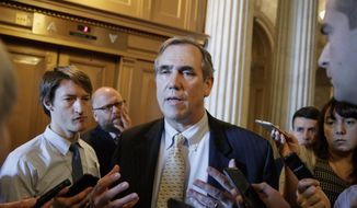 Sen. Jeff Merkley, D-Ore. speaks to reporters just outside the Senate chamber on Capitol Hill in Washington, Wednesday, April 5, 2017, after he ended a 15 hour all-night talk-a-thon as the Senate heads toward a showdown over the confirmation vote for Supreme Court Justice nominee Neil Gorsuch. (AP Photo/J. Scott Applewhite) ** FILE **