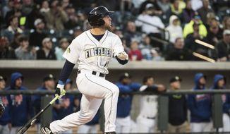 Columbia Firefly's Tim Tebow watches his home run in his first at bat on the opening day during a Class A minor league baseball game against the Augusta GreenJackets on Thursday, April 6, 2017, in Columbia, S.C. (AP Photo/Sean Rayford)