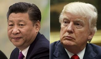 This combination of file photos show U.S. President Donald Trump, right, in a meeting at the White House in Washington, on March 31, 2017, and China's President Xi Jinping in a meeting at the Great Hall of the People in Beijing, on Dec. 1, 2016. (AP Photo/File)