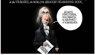 A message from James Madison ... (Illustration by Michael Ramirez for Creators Syndicate)