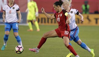 U.S. forward Carli Lloyd (10) and Russia midfielder Anna Cholovyaga compete for control of the ball during the first half of an international friendly soccer match in Frisco, Texas, Thursday, April 6, 2017. (AP Photo/Tony Gutierrez)