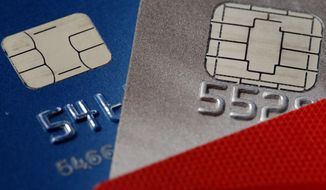 This Wednesday, June 10, 2015, photo shows credit cards in Philadelphia. On Friday, April 7, 2017, the Federal Reserve releases its February report on consumer borrowing. (AP Photo/Matt Rourke)