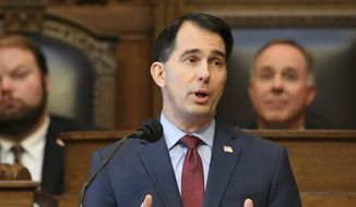 Wisconsin Gov. Scott Walker delivers his state budget address at the state Capitol in Madison, in this Feb. 8, 2017, file photo. (John Hart /Wisconsin State Journal via AP, File)