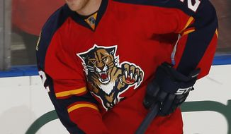 FILE - In this Oct. 30, 2015, file photo, Florida Panthers forward Shawn Thornton skates prior to an NHL hockey game against the Boston Bruins,  in Sunrise, Fla. For Panthers enforcer Shawn Thornton, getting to the NHL was not easy. Neither is leaving. The final game of Thornton's 20-year pro career _ the first half basically spent in the minors before he finally got to the NHL on a permanent basis _ comes Saturday night, April 8, 2017. (AP Photo/Joel Auerbach, File)
