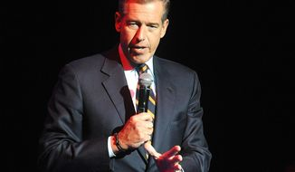 """FILE - In this Nov. 5, 2014, file photo, Brian Williams speaks at the 8th Annual Stand Up For Heroes, presented by New York Comedy Festival and The Bob Woodruff Foundation in New York. Williams is facing online criticism for saying on MSNBC Thursday, April 6, 2017, for describing video of U.S. missiles launching during an attack on a Syrian air base as """"beautiful."""" (Photo by Brad Barket/Invision/AP, File)"""