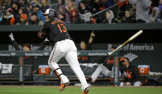 Baltimore Orioles' Manny Machado tosses his bat as he watches his three-run home run in the fifth inning of a baseball game against the New York Yankees in Baltimore, Friday, April 7, 2017. (AP Photo/Patrick Semansky)