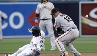 San Diego Padres' Manuel Margot, left, slides into second with a double, as the ball bounces off San Francisco Giants second baseman Joe Panik's glove, while shortstop Brandon Crawford, center, watches during the first inning of a baseball game in San Diego, Saturday, April 8, 2017. (AP Photo/Alex Gallardo)