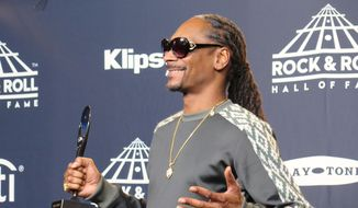 Snoop Dogg speaks in the backstage press room after inducting fellow rapper Tupak Shakur into the Rock & Roll Hall of Fame at a ceremony at the Barclays Center in Brooklyn, New York, April 7, 2017.  (Dawn Marling, Special to The Washington Times)