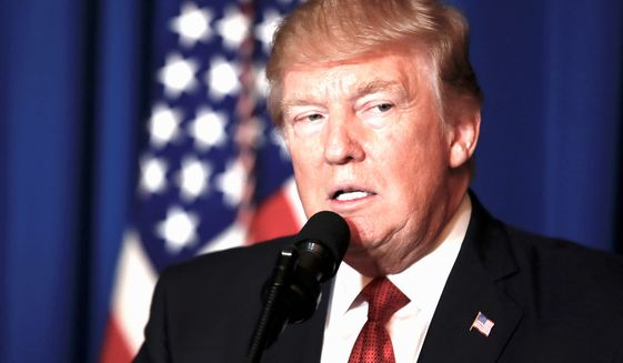 President Donald Trump speaks at Mar-a-Lago in Palm Beach, Fla., Thursday, April 6, 2017, after the U.S. fired a barrage of cruise missiles into Syria Thursday night in retaliation for this week's gruesome chemical weapons attack against civilians. (AP Photo/Alex Brandon) (Associated Press)