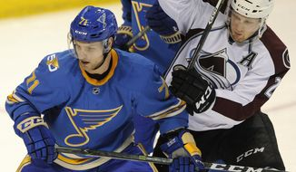 St. Louis Blues' Vladimir Sobotka (71), of Czech Republic, defends against Colorado Avalanche's Nathan MacKinnon (29) during the second period of an NHL hockey game, Sunday, April 9, 2017, in St. Louis. (AP Photo/Bill Boyce)