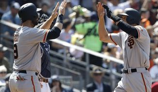 San Francisco Giants' Brandon Belt, left, congratulates Hunter Pence for hitting a two-run home run during the third inning of a baseball game against the San Diego Padres in San Diego, Sunday, April 9, 2017. (AP Photo/Alex Gallardo)