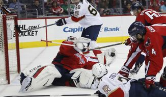 Washington Capitals goalie Braden Holtby (70) makes a save as he catches the puck hit by Florida Panthers center Vincent Trocheck (21) during the first period of an NHL hockey game in Washington, Sunday, April 9, 2017. (AP Photo/Manuel Balce Ceneta)