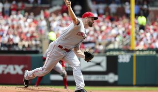 Cincinnati Reds starting pitcher Scott Feldman (37) pitches during the first inning of a baseball game against the St. Louis Cardinals Sunday, April 9, 2017, in St. Louis. (AP Photo/Tim Spyers)
