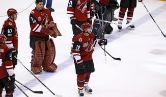 Arizona Coyotes' Shane Doan (19) waves to the crowd after the team's NHL hockey game against the Minnesota Wild Saturday, April 8, 2017, in Glendale, Ariz. The Wild defeated the Coyotes 3-1. (AP Photo/Ross D. Franklin)
