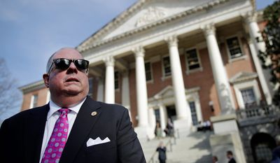 "Maryland Gov. Larry Hogan held a news conference outside the State House in Annapolis on Monday, the final day of the legislative session in Annapolis. He had threatened to veto the a bill that would establish Maryland as a ""sanctuary state"" for illegal immigrants. (Associated Press)"