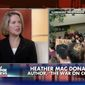 "Pro-police author Heather Mac Donald slammed the ""outbreak of student totalitarianism"" after her speech at Claremont McKenna College in Oakland, California, was shut down by leftist protesters last week. (Fox News)"