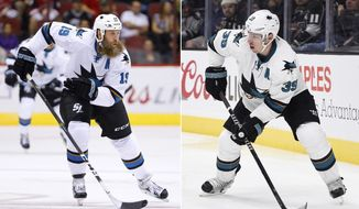 FILE - At left, in a Nov. 1, 2016, file photo, San Jose Sharks center Joe Thornton (19) skates to the puck against the Arizona Coyotes during the first period of an NHL hockey game, in Glendale, Ariz. At right, in a Nov. 30, 2016, file photo,  San Jose Sharks center Logan Couture (39) skates with the puck during the third period of an NHL hockey game against the Los Angeles Kings in Los Angeles.  he Sharks begin preprations for the playoffs with the status of top two centers, Thornton and Couture, in doubt. Thornton has missed three games with an injured left knee and Couture has been out seven games after being hit in the mouth by a puck. (AP Photo/File)
