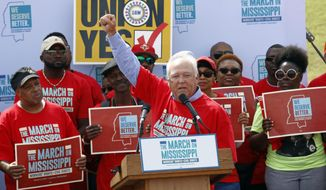 In this March 4, 2017 photograph, UAW president Dennis Williams calls for Nissan auto workers to demand their rights during a speech before thousands gathered at a pro-union rally near Nissan Motor Co.'s Canton, Miss., plant. The National Labor Relations Board on March 31, 2017, leveled new charges that Nissan Motor Co. and a contract worker agency at Nissan's Mississippi plant are violating workers' rights. (AP Photo/Rogelio V. Solis)