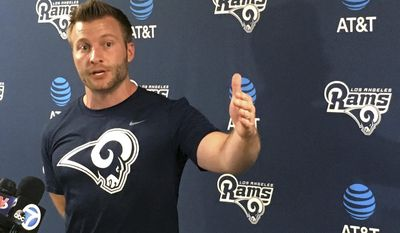Los Angeles Rams coach Sean McVay gestures while making a point after the first official day of his new team's offseason football program, Monday, April 10, 2017, in Thousand Oaks, Calif. (AP Photo/Greg Beacham)