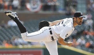 Detroit Tigers pitcher Justin Verlander throws against the Boston Red Sox in the first inning of a baseball game in Detroit, Monday, April 10, 2017. (AP Photo/Paul Sancya)