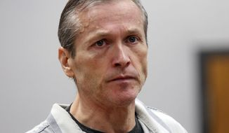 FILE - In this Oct. 10, 2012, file photo, Martin MacNeill appears in Judge Samuel McVey's Fourth District Court, in Provo, Utah, for the first day of preliminary hearings. Officials say correctional officers found 60-year-old MacNeill unresponsive Sunday morning near the greenhouse of the Olympus Facility at the Utah State Prison. (Al Hartmann/The Salt Lake Tribune via AP, Pool)