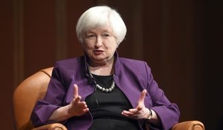 Federal Reserve Chair Janet Yellen speaks on stage as part of a conversation put on by the Gerald R. Ford School of Public Policy at the University of Michigan's Rackham Auditorium in Ann Arbor, Mich., on Monday, April 10, 2017. (Melanie Maxwell /The Ann Arbor News via AP) ** FILE **