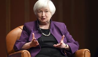 Federal Reserve Chair Janet Yellen speaks on stage as part of a conversation put on by the Gerald R. Ford School of Public Policy at the University of Michigan's Rackham Auditorium in Ann Arbor, Mich., on Monday, April 10, 2017. (Melanie Maxwell /The Ann Arbor News via AP)