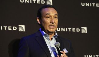 FILE - In this Thursday, June 2, 2016, file photo, United Airlines CEO Oscar Munoz delivers remarks in New York, during a presentation of the carrier's new Polaris service, a new business class product that will become available on trans-Atlantic flights. Munoz said in a note to employees Tuesday, April 11, 2017, that he continues to be disturbed by the incident Sunday night in Chicago, where a passenger was forcibly removed from a United Express flight. Munoz said he was committed to fix whats broken so this never happens again. (AP Photo/Richard Drew, File)