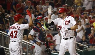 Washington Nationals Matt Wieters (32) is congratulated by teammate Gio Gonzalez (47) while St. Louis Cardinals catcher Yadier Molina (4) watches after hitting a home run during the fourth inning of a baseball game in Washington, Tuesday, April 11, 2017. (AP Photo/Manuel Balce Ceneta)