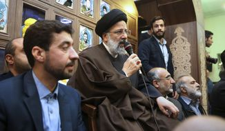 Iranian presidential hopeful Ebrahim Raisi speaks at Houri mosque in southern Tehran, Iran, Monday, April 10, 2017. Raisi, a hard-line cleric and close ally of Iran's supreme leader, has announced he will run in the May presidential election. Iranian hardliners had hope Raisi would challenge incumbent President Hassan Rouhani, who is eligible to run for a second term. (AP Photo/Vahid Salemi)