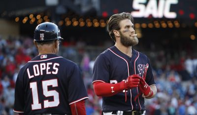 Washington Nationals Bryce Harper (34) watches the monitor after grounding out in the eighth inning of a baseball game against the St. Louis Cardinals in Washington, Wednesday, April 12, 2017. The Cardinals won 6-1. (AP Photo/Manuel Balce Ceneta)