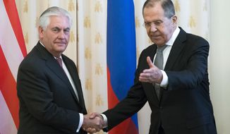 US Secretary of State Rex Tillerson and Russian Foreign Minister Sergey Lavrov, shakes hands prior to their talks in Moscow, Russia, Wednesday, April 12, 2017. Tillerson's Moscow talks hinge on new US leverage over Syria. (AP Photo/Alexander Zemlianichenko)
