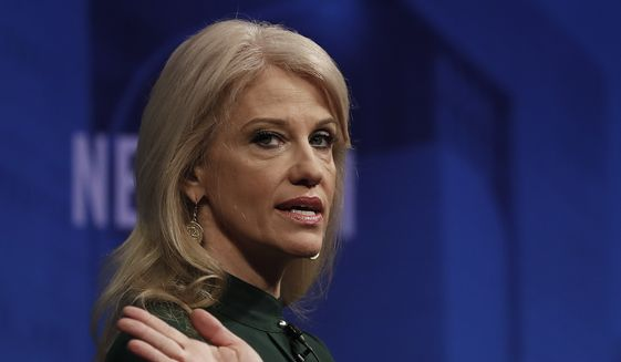 """Counselor to President Donald Trump Kellyanne Conway speaks at the Newseum in Washington, Wednesday, April 12, 2017, during """"The President and the Press: The First Amendment in the First 100 Days"""" forum. (AP Photo/Carolyn Kaster) ** FILE **"""