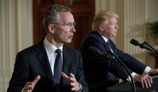NATO Secretary General Jens Stoltenberg accompanied by President Donald Trump, right, speaks at a news conference in the East Room at the White House in Washington, Wednesday, April 12, 2017, in Washington. (AP Photo/Andrew Harnik)